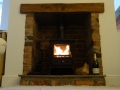 A warming fire on a cold winter evening